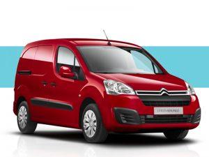imagem de uma carrinha de 2 lugares marca Berlingo Citroën Berlingo, vermelha modelo comercial